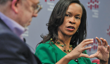 Valerie Wilson, the director of the Program on Race, Ethnicity, and the Economy at the Economic Policy Institute (EPI) speaks jobs and the economy in the Black community during an event at the EPI. (Freddie Allen/NNPA News Wire)