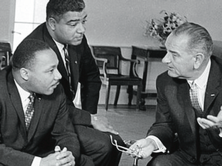 Martin Luther King (left), Whitney Young and President Lyndon Johnson (right)  in 1965 (AP Photo)