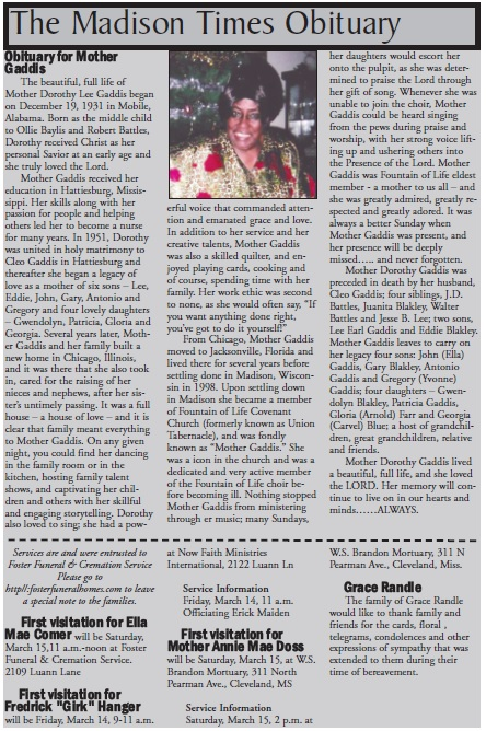 Madison Times Obituary: Obituary for Mother Gaddis | The