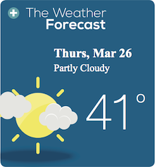 Weather Forecast Thurs, Mar 26