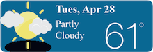 Weather Forecast Tues, Apr 28